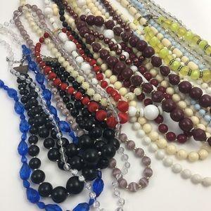 Vintage beaded necklace lot plastic multicolor